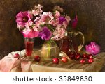 Still life with wine and cherries - stock photo