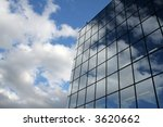 Blue Sky and Coperate Glass Building - stock photo