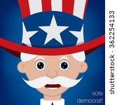 Cute cartoon Uncle Sam U.S. election card in vector format. - stock vector