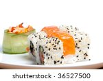 Some sushi rolls on the white plate - stock photo