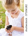 Sweet little girl holding a little black chick for the first time. - stock photo