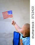 Little Baby Holding American Flag - stock photo