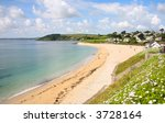 Gyllyngvase beach in the summer, Falmouth, Cornwall. - stock photo