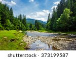 summer landscape with river flowing between green mountains through the forest - stock photo
