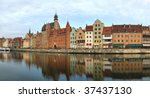 Panorama of the riverside Gdansk, Poland. - stock photo