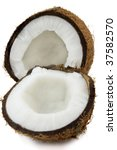 Ripe cocos on a white background - stock photo