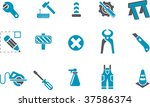 Vector icons pack - Blue Series, works collection - stock vector