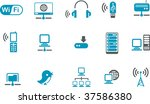 Vector icons pack - Blue Series, wi-fi collection - stock vector