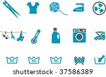 Vector icons pack - Blue Series, washing machine collection - stock vector
