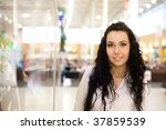 smiling girl stand near - stock photo