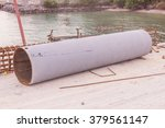 Round steel pipe with anti-rust paint will be used as column of pier - stock photo