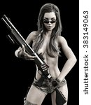 Sexy confident female holding a shotgun, Photo realistic 3d model scene - stock photo
