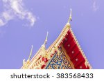 Part of top front side of a Thai Buddhism Church, Phuket, Thailand - stock photo