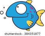 Cartoon illustration of a blue fish with a smile.  - stock vector