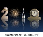 New Year 2010 composed of golden digit two, fireworks burst, bottle of champagne and table clock reflecting on dark blue surface - stock photo