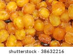 Dried Kumquat fruit, citrus family similar to orange, focus in the center, strong depth of field - stock photo