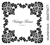 Vintage antique frame with floral ornament - stock photo