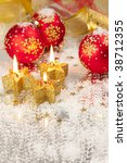 Christmas Background / Holiday Candles and Decorations - stock photo