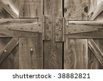 A close-up wood texture background in sepia tone. - stock photo