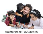 Cute children are painting and playing with their father - stock photo