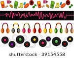 Music Border Set - Vector - stock vector