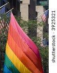 rainbow sail on fifth avenue - stock photo