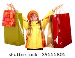 Girl in autumn orange hat with  shopping bag group. Isolated. - stock photo