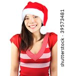 Santa girl. Cute shy smiling mixed asian / caucasian young woman with christmas hat. Isolated on seamless white background. - stock photo