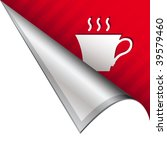 Coffee cup icon on vector peeled corner tab suitable for use in print, on websites, or in advertising materials. - stock vector