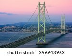 Akashi Kaikyo Bridge spanning the Seto Inland Sea from Kobe, Japan. - stock photo