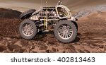 3D Illustration - Fuel-cell powered ATV traversing rocky Martian valley - stock photo