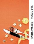 knife, fork, ribbon, stars, candle \ cristmas holiday background - stock photo