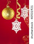 Christmas background with decorations and bow /  with copy space for your text - stock photo