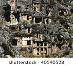 tombs build in the hills of myra - stock photo