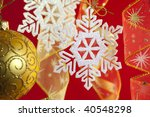 Christmas background with decorations and bow - stock photo