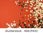 Red holiday background with golden stars \ XXXL size \ - stock photo