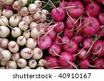 Farmers market: white and red radish - stock photo