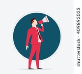 Businessman in red suit. Megaphone. Flat style vector illustration. - stock vector