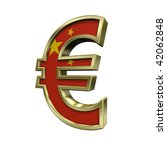 Gold Euro sign with China flag isolated on white. Computer generated 3D photo rendering. - stock photo