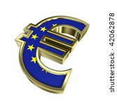 Gold Euro sign with european union flag isolated on white. Computer generated 3D photo rendering. - stock photo