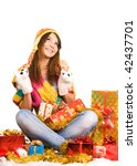 girl among many gifts boxes - stock photo