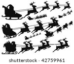 Collection silhouette illustration of flying Santa - stock vector