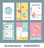Set Memphis cards for congratulations. Hipster poster, juicy, bright color background. Invitation to a party. - stock vector