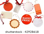 collection of red tags - stock photo