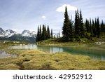 Alpine lake scene in Whistler, Canada. - stock photo