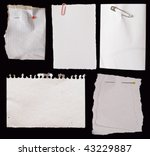 white paper notes on black background - stock photo