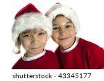 Happy santa boys - stock photo