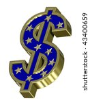 Gold-blue Dollar sign with stars isolated on white. Computer generated 3D photo rendering. - stock photo