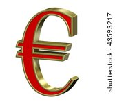 Euro sign from red with gold frame Roman alphabet set, isolated on white. Computer generated 3D photo rendering. - stock photo