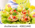 tuna salad in tartlets for  easter breakfast - stock photo
